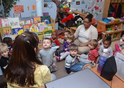 Little kids listening to teacher